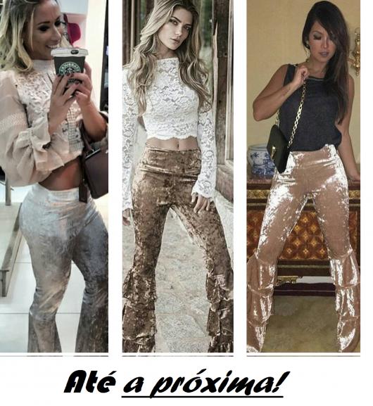 Ilustração final do post, com modelos usando calça de veludo molhado e blusinhas casuais.
