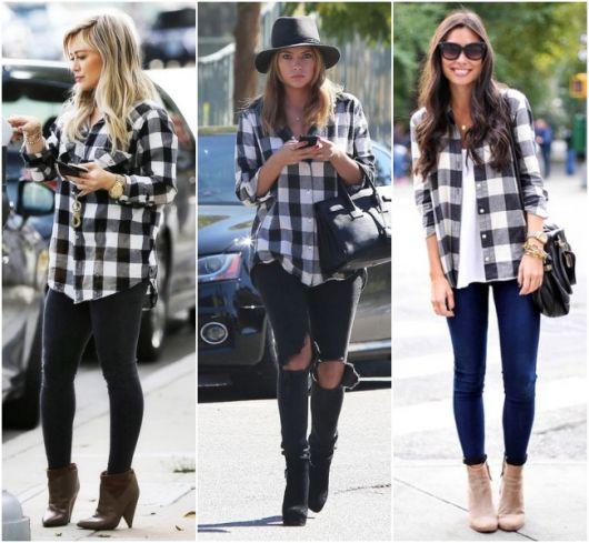 Modelos usam looks casuais com camisa xadrez preta e branca.