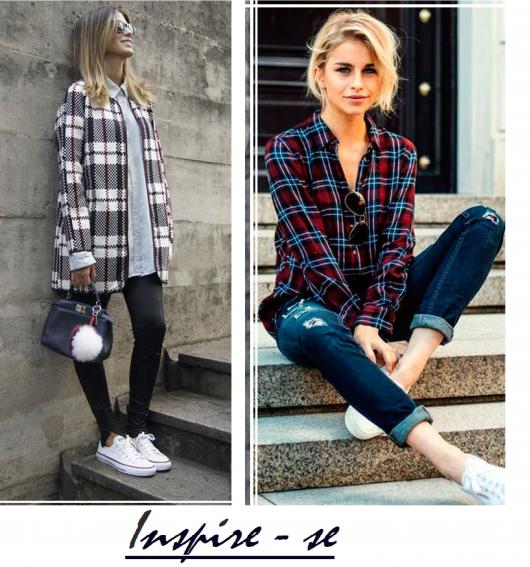 Modelos vestem looks com camisa xadrez e calça jeans com tênis.