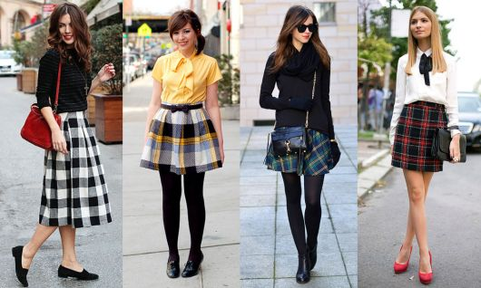 modelos usam looks dia dia com saia xadrez.