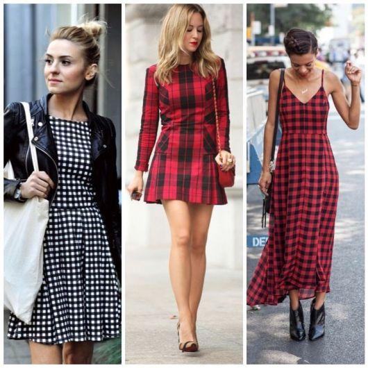 Montagens com modelos de vestido xadrez.