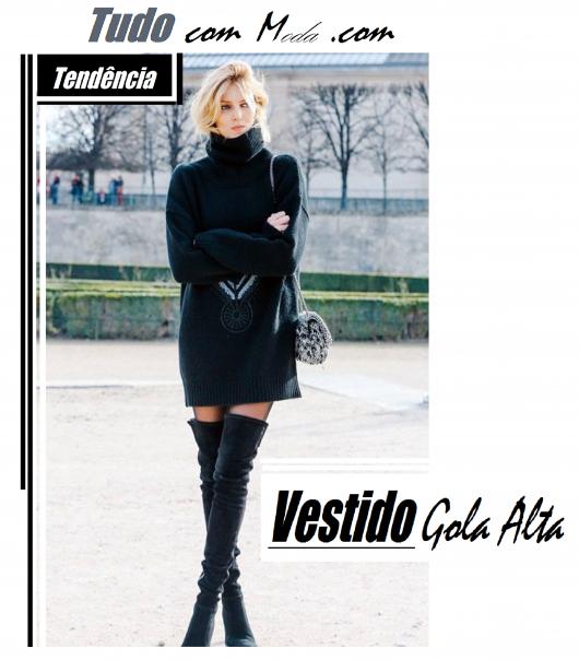 Vestido de Gola Alta – 49 Modelos Lindos, Como Usar & Onde Comprar!