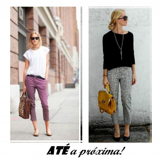 ilustração final do post com modelos de calça capri e blusinha.