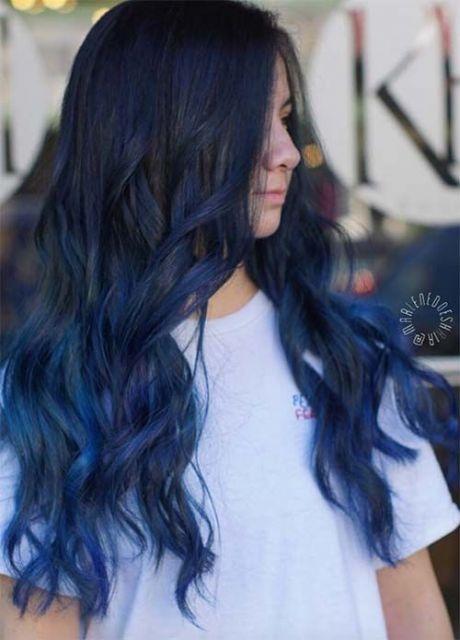 cabelo azul pontas