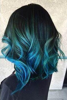 ombré hair cabelo azul