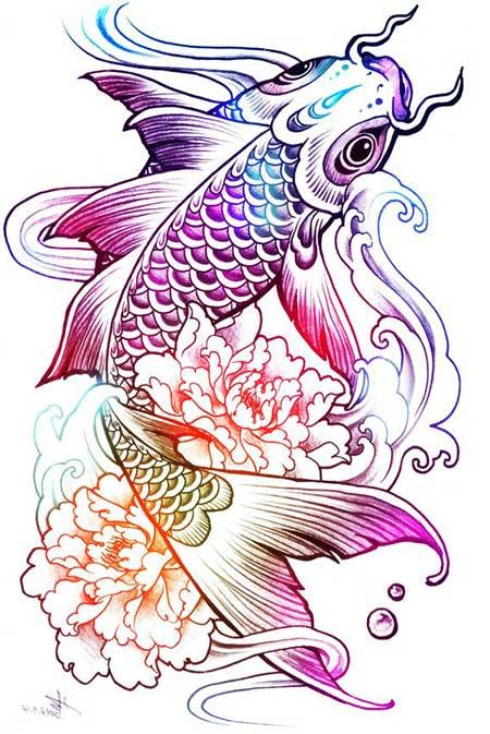 Desenho de uma carpa nadando com detalhes coloridos