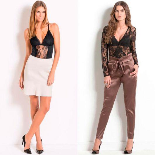 Modelos vestem looks com body transparente saia e calça combinado com sapato social preto.