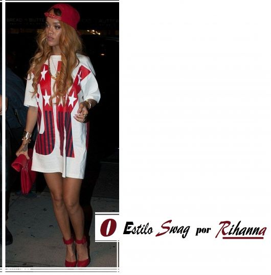 Rihanna usa camiseta estampada, boné vermelho, sandalia e bolsa de mão.