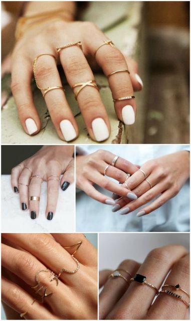 Montagem com modelos de anéis falange.