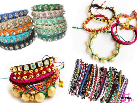 Modelos diferentes de pulseiras multicoloridas.