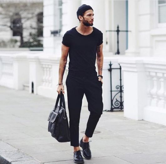 calça cropped masculina preta
