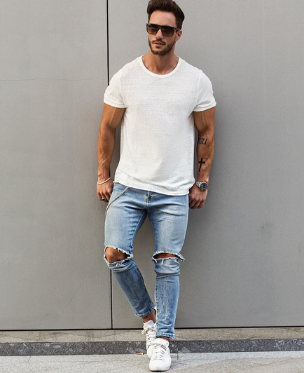 calça cropped masculina jeans rasgada