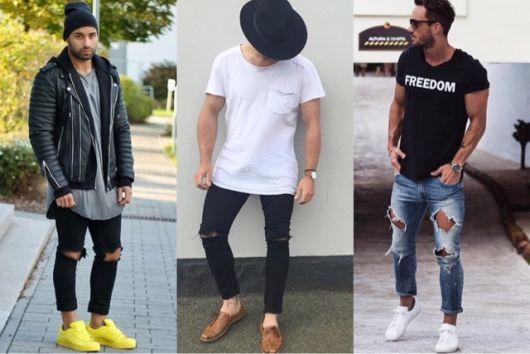 calça cropped masculina jeans rasgada no joelho como usar