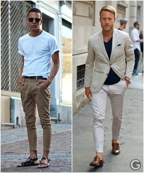 calça cropped masculina sarja clara