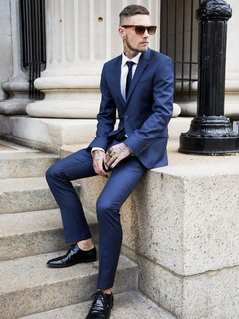 calça cropped masculina social azul