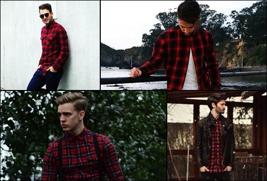e4135937b6 montagem com quatro fotos diferentes de homens com camisa xadrez vermelha