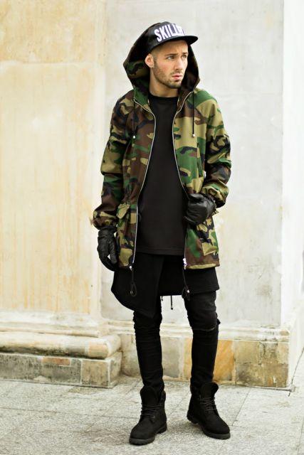 jaqueta camuflada longa