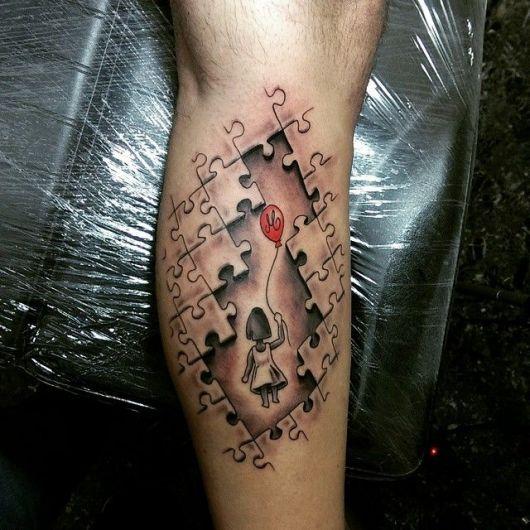 tatuagem 3d quebra cabeça