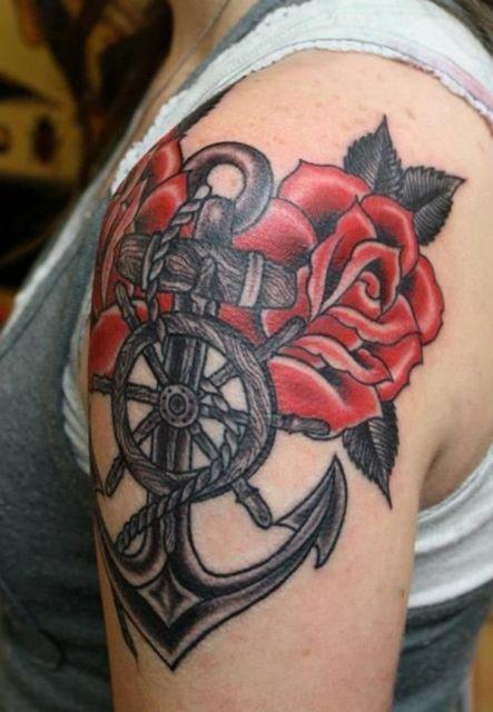 tatuagem de ancora rosas