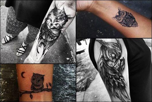 Montagem com quatro fotos diferentes de tatuagem de coruja