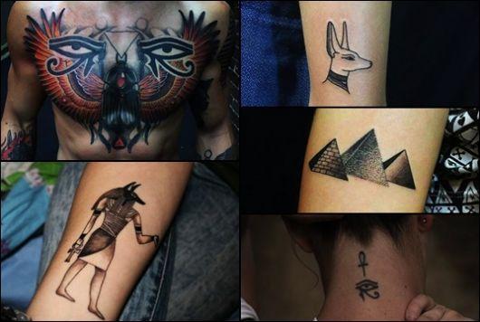 Montagem com cinco tatuagens egípcias diferentes.
