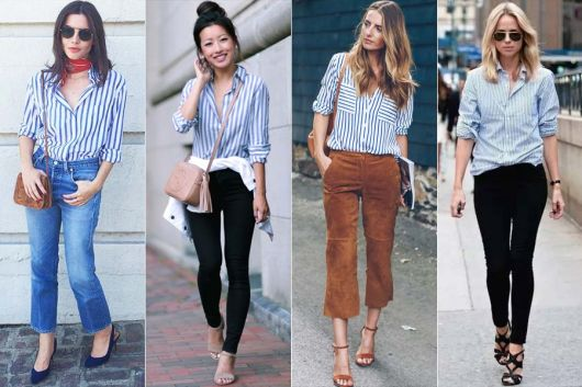 Modelos usam blusa listrada nas cores branco e azul.