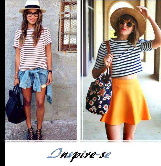 Foto montagem com modelos de looks com blusa listrada.