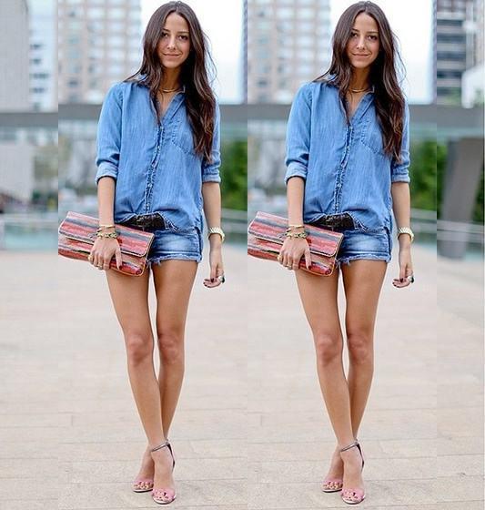 22bdc36ba0 Camisa Jeans Feminina – Como Usar com 55 Looks Incrivelmente Lindos!