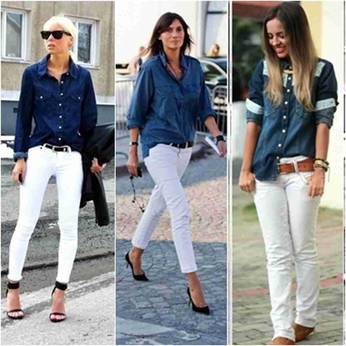 Montagem com modelos de camisa jeans azul escuro e calça jeans branca.