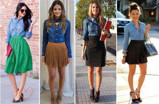 Montagem com modelos de saia diferentes e camisa jeans e sapatos.