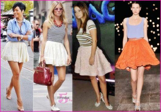Modelos vestem looks variados com mini saia nas cores branca, nude e laranja.