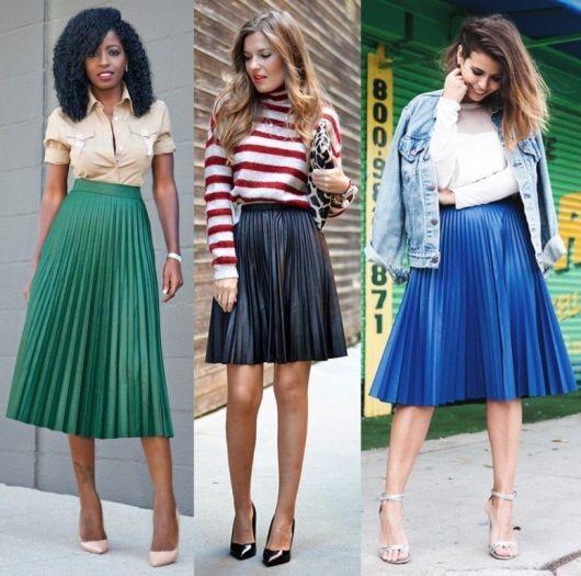 Modelo usa saia plissada nas cores preto, verde e azul royal.