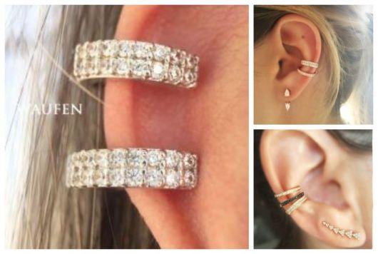Montagem com três tipos de piercing para orelha.
