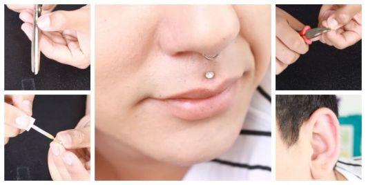 Montagem ensinando a fazer piercing falso na boca e orelha.