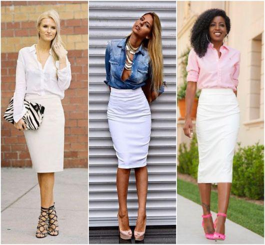 Modelos usam saia branca com blusa e sapatos.