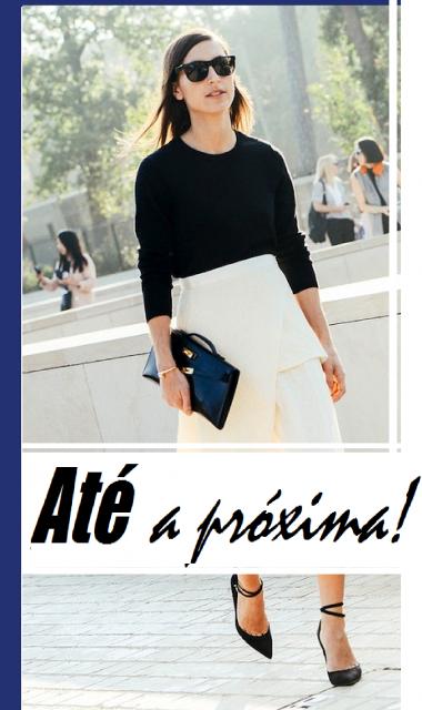 Ilustração final do post, com modelo vestindo saia branca midi, blusinha preta meia manga e sapato preto scarpin.