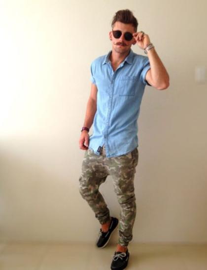 Calça camuflada masculina casual