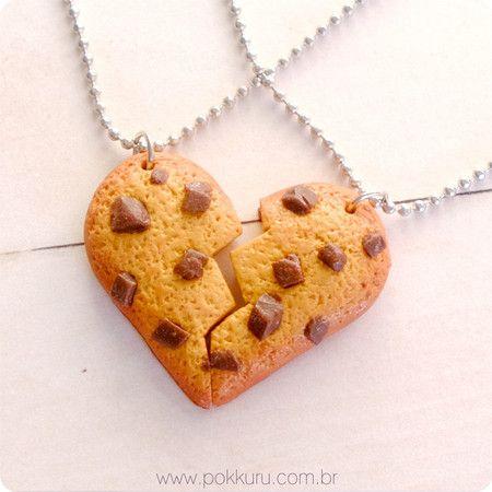 colar comida formato de coração