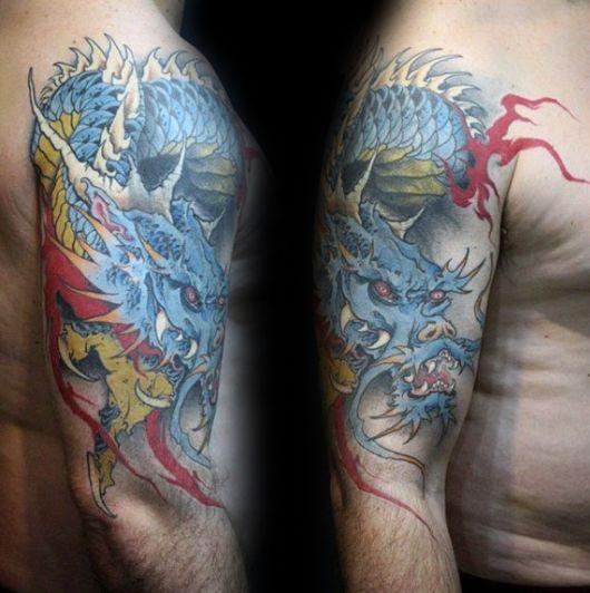 tatuagem de dragão no braço