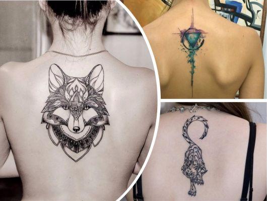 Tatuagens femininas nas costas animais e figuras geométricas