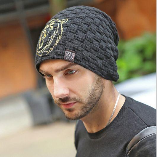 touca masculina de tricô