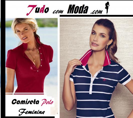 Modelos vestem camiseta polo feminina nas cores vermelho e azul com branco  e gola rosa em 6e91a5e9711