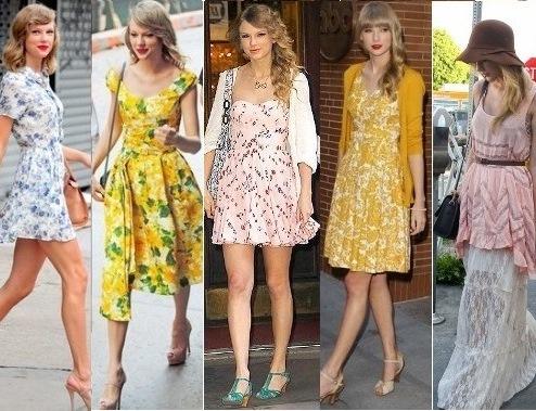 Montagem com modelos de vestido godê estampado.