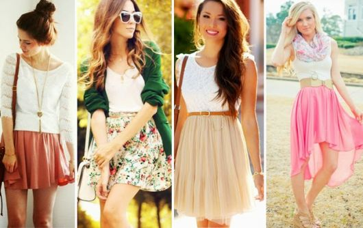 Modelos vestem saia curta romantica e blusa.