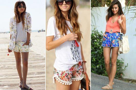 Modelos vestem shorts curtinhos com camiseta e sapatilha.