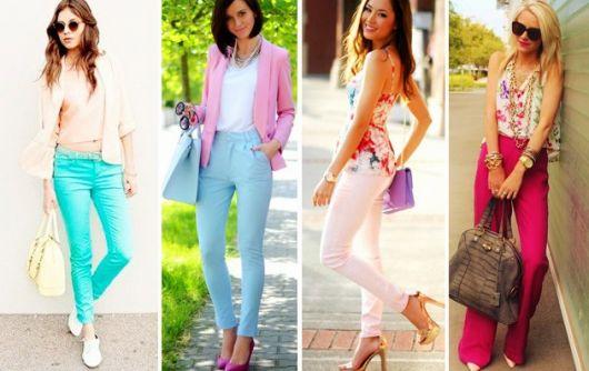 Montagem com modelos de calça estilo romantico em cores diversas.