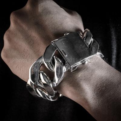 Mens Thick Sterling Silver Bracelets