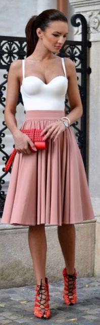 look com saia rosa