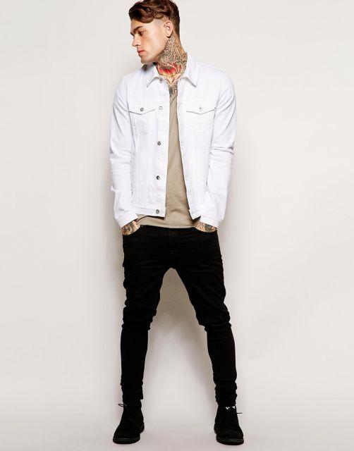 jaqueta jeans masculina branca