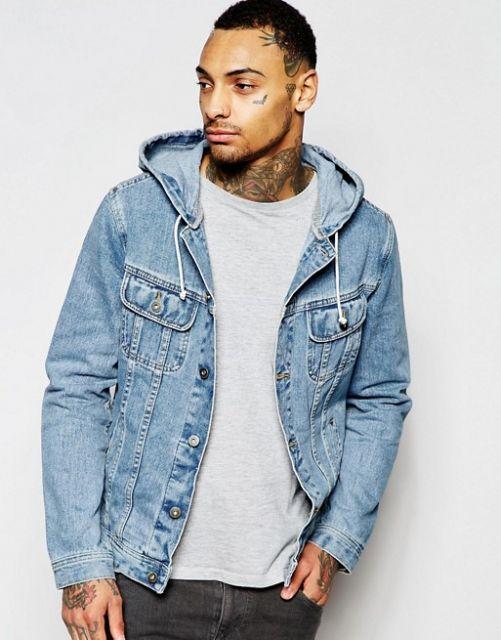 jaqueta jeans masculina com capuz